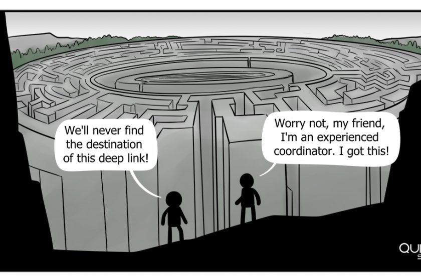 Two people standing in front of a maze, feeling lost