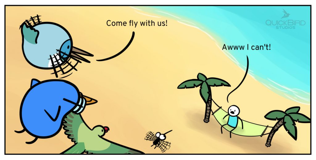 Comic image: Birds and Mosquito meet a Human at the beach.